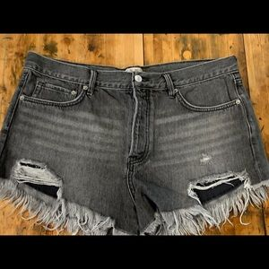 Free People Denim Shorts Black 31 High Waisted